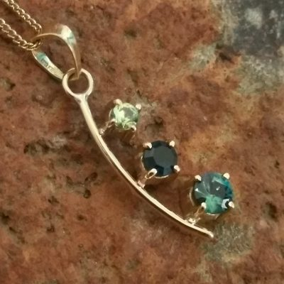 Gold 3 Sapphire Pendant